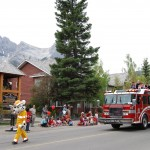 Fire trucks end the parade.